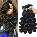 Good Cheap Malaysian Virgin Hair Loose Wave 4 Pcs Queen Berry Hair Products Malaysian Loose Wave Hair Weave Bundles Natural 1B