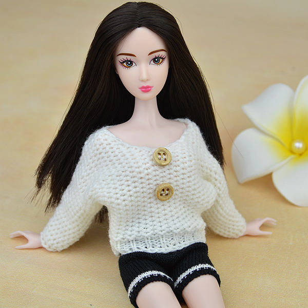 White Sweater + black shorts,New 2016 Wool Weave Knit Lint Sweater Winter Put on Clothes Outfit Set Garments For Kurhn Barbie Doll