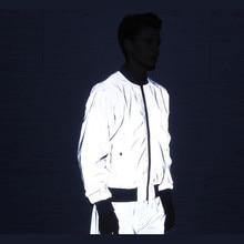 Riinr 남자 3 m 전체 반사 자켓 라이트 후드 여성 자켓 힙합 방수 윈드 브레이커 후드 streetwear 코트 남자