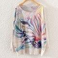 2015 otoño y el invierno de las nuevas mujeres de ropa suéter manga larga estilo de moda Jumper imprimir caballo Butterfly Print suéter Jersey