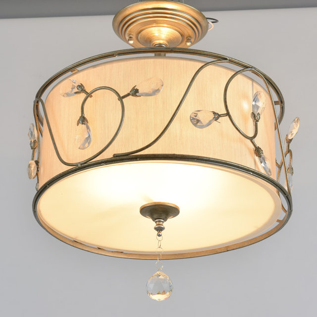 Modern Drum Shade Re Crystal Chandelier Fabric Ceiling Lamp Home Decorative Flushmount Light Fixture For Dinning Room Living
