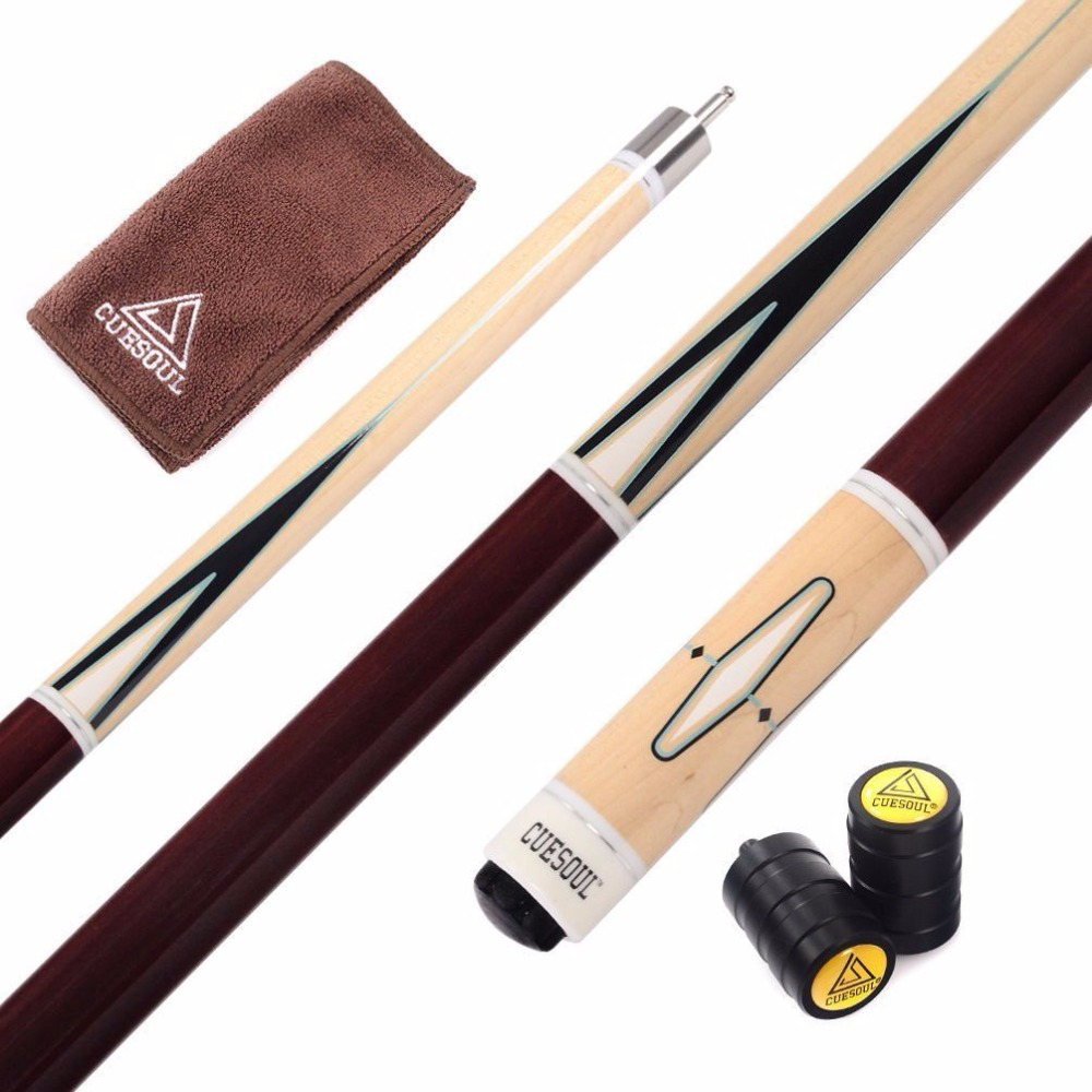 AB Earth 57 2-Pieces 13mm Screw-on Tips American Pool Cue House Bar Club Hardwood Maple Billiard Stick