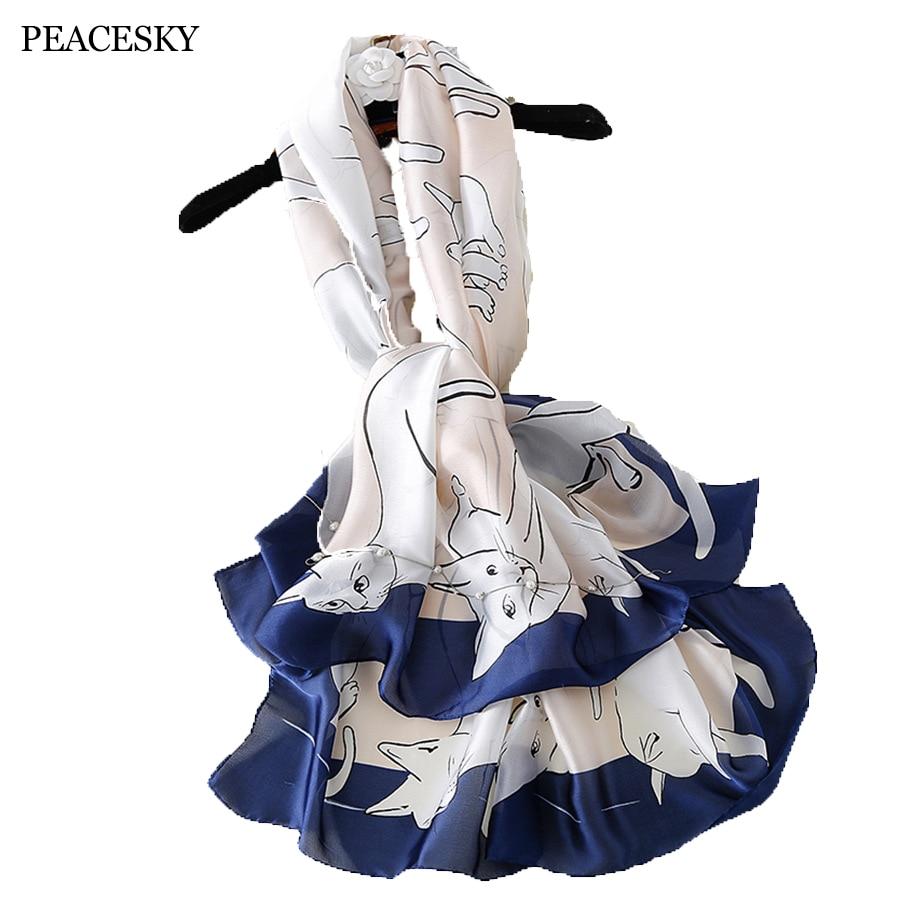 Cute Cats   scarf   Plus Size beach stole bandana Hijabs 2017 luxury brand Women Silk   scarf   Beach Shawl and Echarpe   Wrap