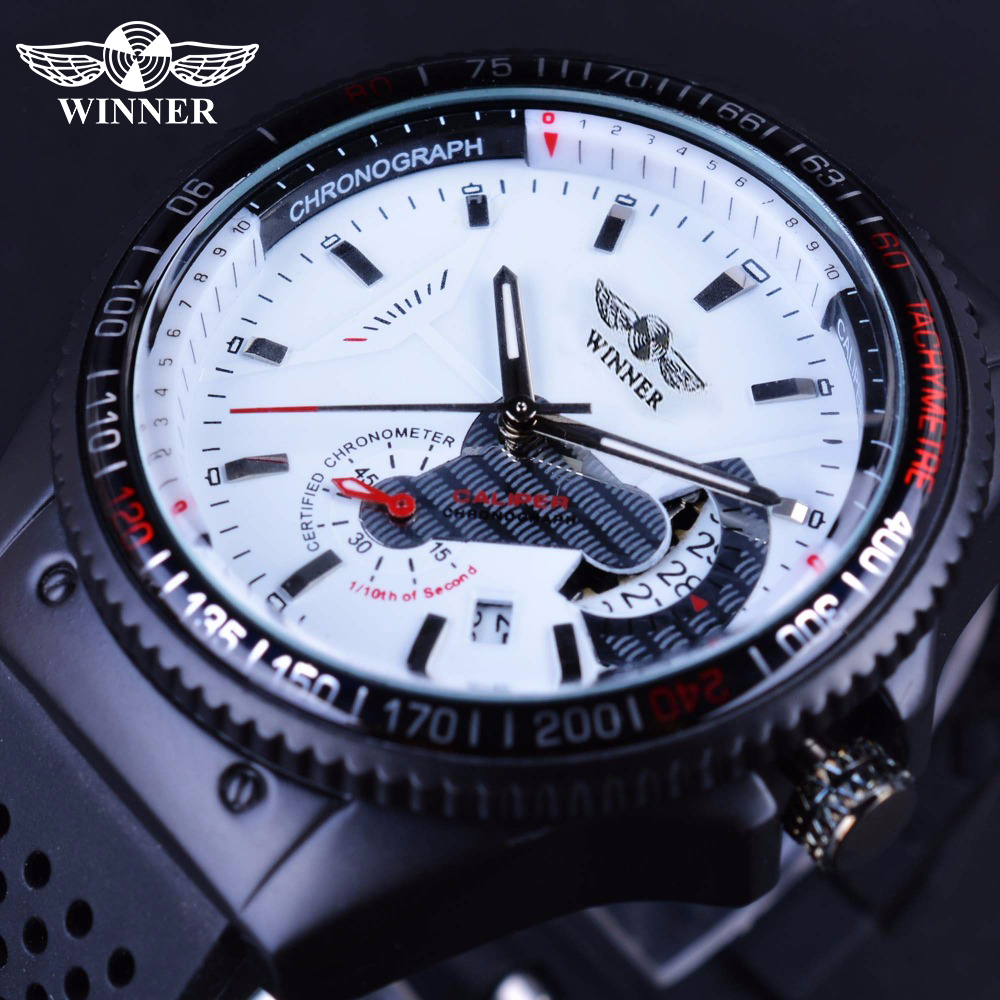 Winner Sport Racing Style Rubber Band Mens Watches Top Brand Luxury Automatic Fashion Watch Mechanical Clock Men White Dial winner steampunk mysterious mechanical black fashion racing sport fashion design men automatic skeleton watches top brand luxury