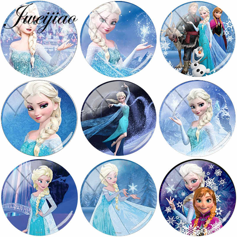 JWEIJIAO Cartoon Princess Girls DIY Glass Cabochon Dome With Photo Charms For Necklaces Earrings Brooches Keychain Accessories
