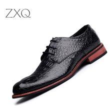 Брендовая мужская обувь из натуральной кожи крокодила узор ручной работы повседневные туфли на плоской подошве Для мужчин Бизнес Обувь шнурованная Мужская Обувь кожаная