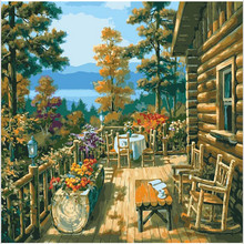 Picture On Wall Chalet Balcony Painting Drawing By Numbers Abstract  Gift DIY Beautiful Coloring