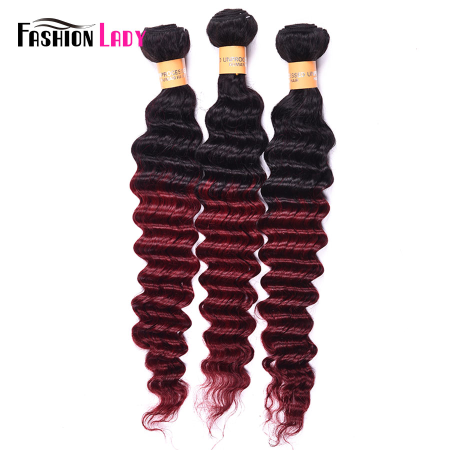 Fashion Lady Pre-Colored Peruvian Hair Two Tone Human Hair Weave Deep Wave Ombre Burgundy Bundles 1b/burg 3 Bundles Non-remy