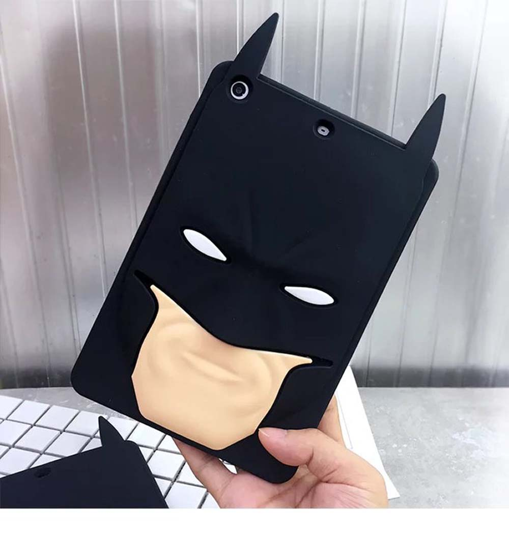 Lovely Cute Soft Silicone Cartoon Batman Shell Tablet Case For iPad 2 3 4,Rubber Protective Cover Case For Apple iPad Mini 1 2 3  for ipad mini 3 2 1 kids fun 3d mini cartoon car childproof silicone protective case blue