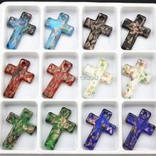 En gros 12 pcs/lot mixte couleur Unique Murano Art verre croix pendentif à breloques collier pour hommes femmes cadeau MC24