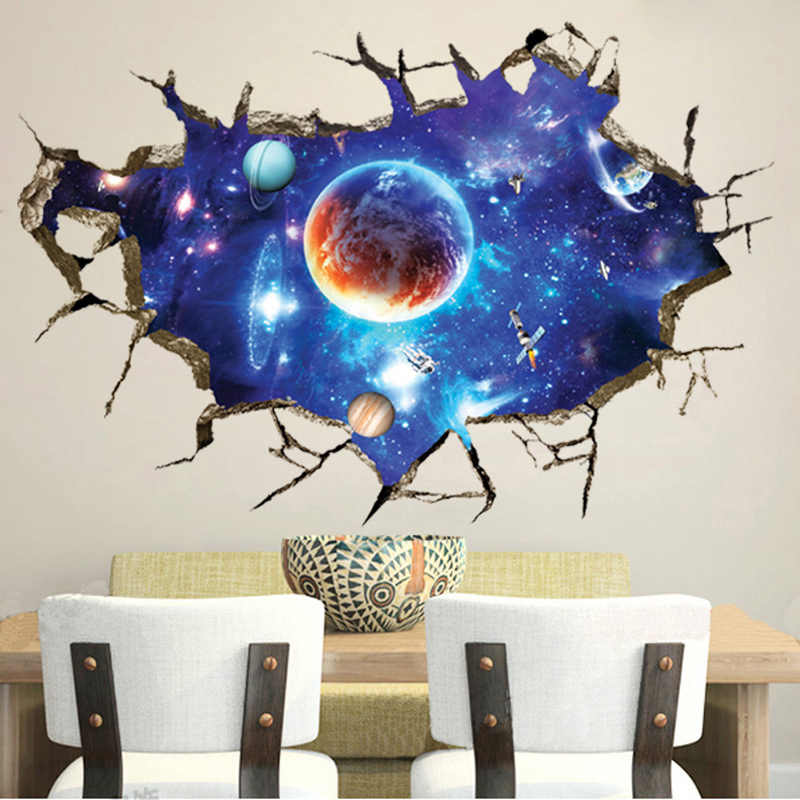 3D Cosmic Space planet Broken wall stickers for kids rooms bedroom nursery home decoration decals murals Break the wall sticker