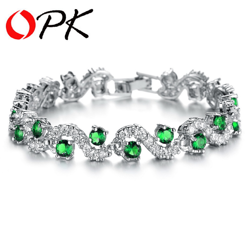 Opk Aaa Cubic Zirconia Women's Bracelet White Gold Color Bangles Luxury  Party Jewelry Pulseras, Dm931g