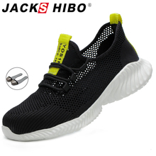 Boots Sneakers Work-Shoes JACKSHIBO Lightweight Construction Safety Anti-Smashing Breathable