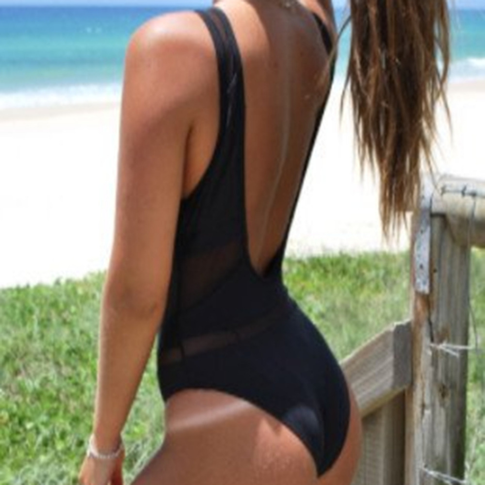 Sexy 1 One Piece Swimsuit Backless Swim Suit for Women Swimwear Bathing Suit Swim Wear Female Mesh Monokini Bandage Vintage black blue one piece swimsuit monokini backless sexy leotard women plus size bathing suit top quality transparent mesh swimwear