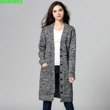 Autumn and winter Thick New Jumper  In The Long Sleeved Sweater Coat Single Breasted Lady Warm With Fertilizer Increase XL-5XL