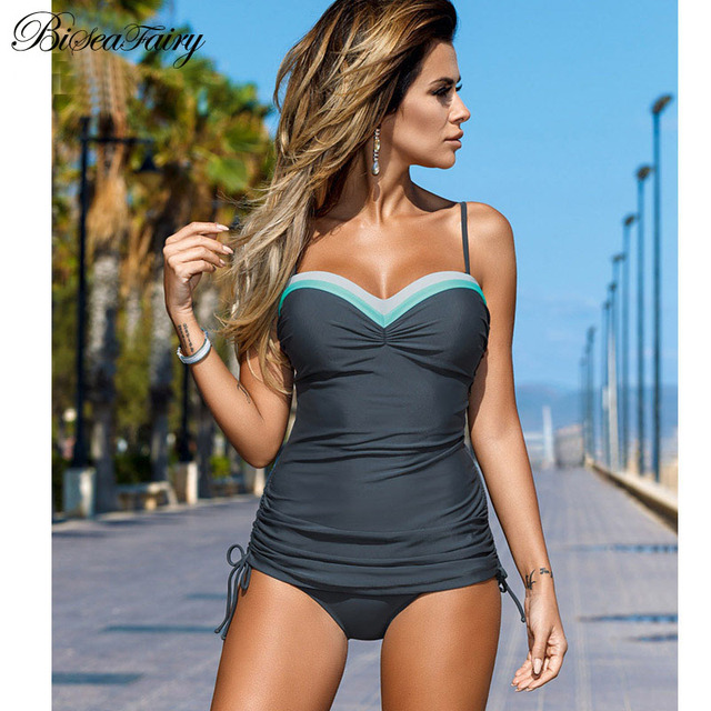 f209b53e1f Biseafairy 2019 New Swimwear Women Swimsuit Push Up Tankini Set Vintage  Retro Bandage Bathing Suit Beach Wear Plus Size Swimwear