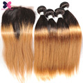 1B 27 Blonde Ombre Hair With Closure 3 Bundles Brazilian Straight Hair With Closure Rosa Hair Products With Closure And Bundles