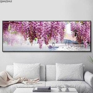 Image 3 - QIANZEHUI,DIY 5Dหงส์สีม่วงดอกไม้เย็บปักถักร้อยเพชรรอบเพชรRhinestoneภาพวาดเพชรCross Stitch,เย็บปักถักร้อย