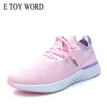 купить E TOY WORD pink sneakers Breathable Mesh Women Casual Shoes Lace-Up size 41 women shoes Sport Outdoor Walking Socks Shoes дешево