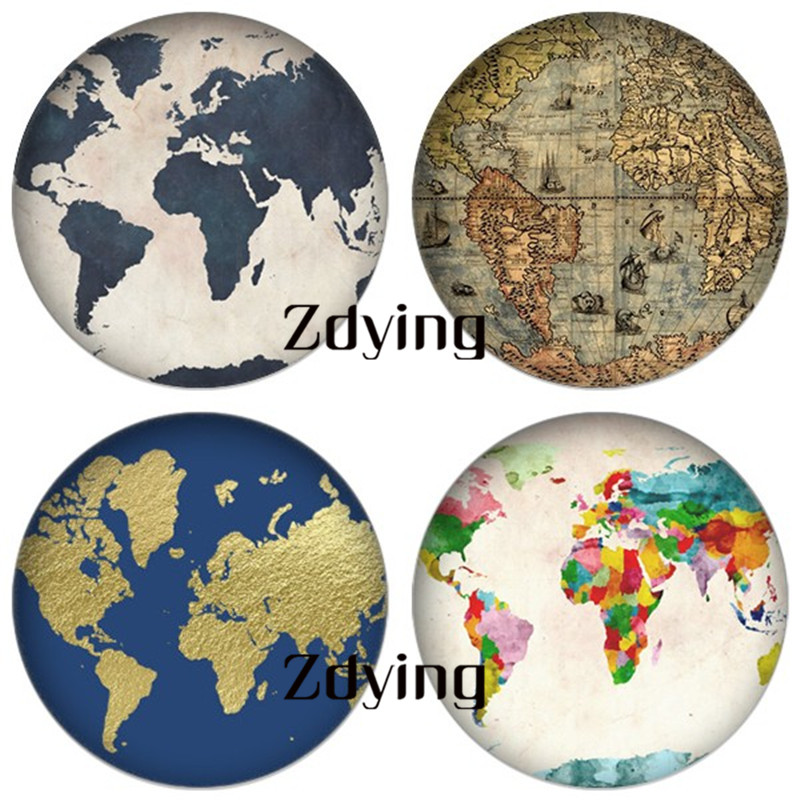 ZDYING 5pcs/lot World Earth Map Round Glass Cabochon Demo Beads Flat Back Making Jewelry Findings For Keychain Bracelets Wp002(China)
