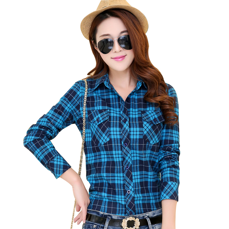 2016 autumn new arrival flannel plaid shirt women casual for Plaid shirt long sleeve