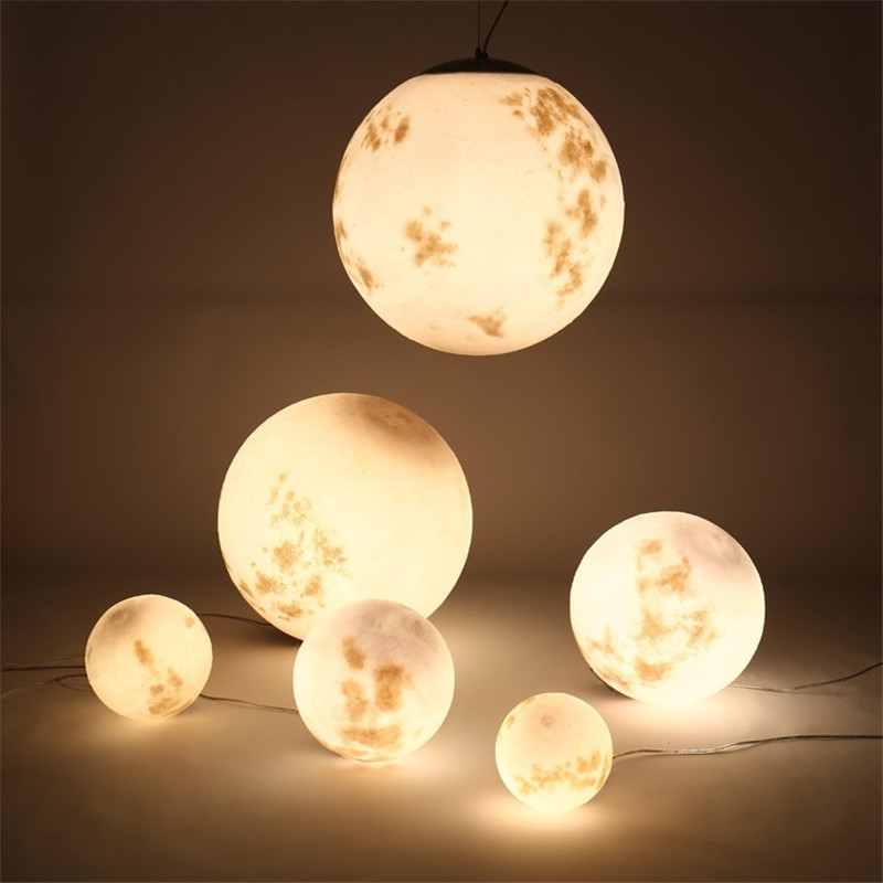 New Moonlight Nordic Pendant Lamp Simple Art Ball Moon Chandelier For  Restaurant Balcony Living Room Bedroom