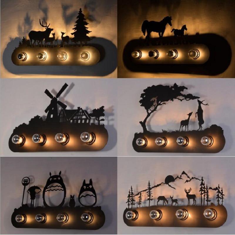 Estilo animal do vintage país da américa restaurante moda criativo cavalo industrial lâmpada de parede e27 iluminação para bar quarto estudo
