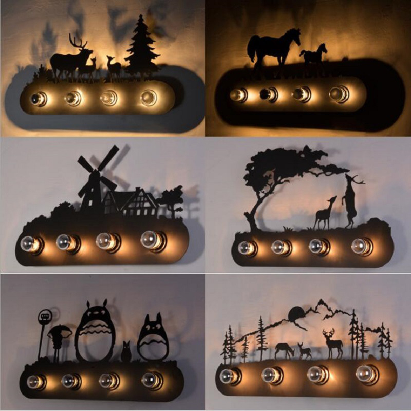 Animal style Vintage American country restaurant Fashion creative industrial horse Wall Lamp E27 lighting for Bar Bedroom Study|wall lamp e27|wall lampe27 wall light - AliExpress