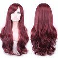 Harajuku Cosplay Wigs Anime Long Curly Wavy Heat Resistant Synthetic Hair Red wine Ombre Wig For Japan Peruca Perruque W204