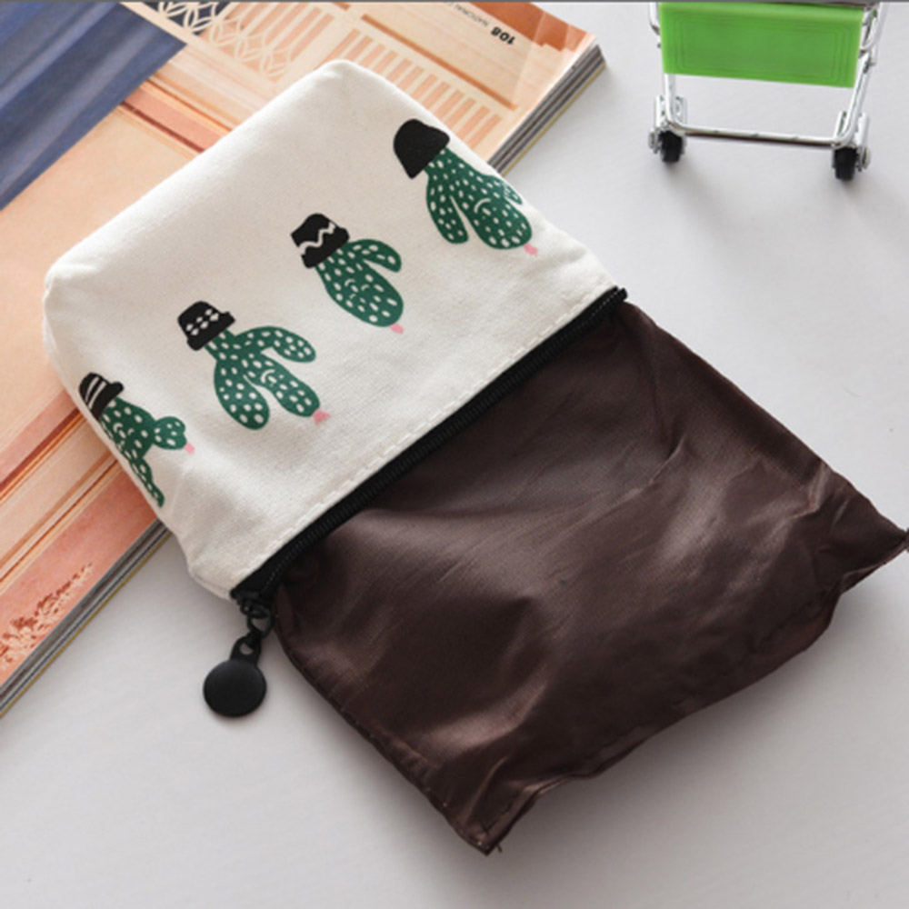 Canvas Cash Coin Purse,Smile Leaves Art Print Make Up Bag Zipper Small Purse Wallets