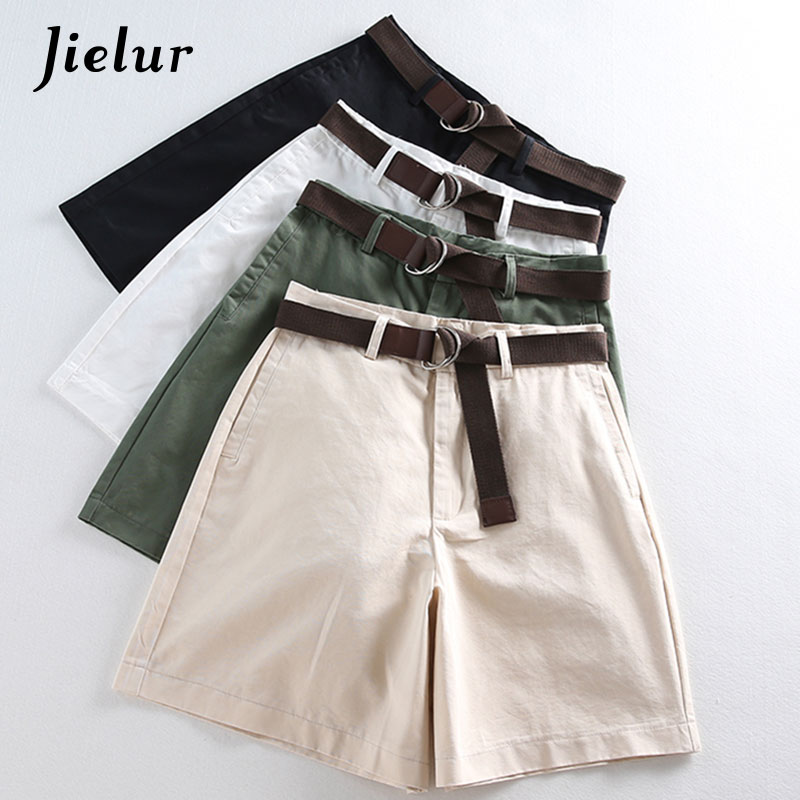Jielur All-match 4 Solid Color Sashes Casual Women Shorts A-line High Waist Slim Summer Shorts Feminino Chic S-XXL Ladies Bottom