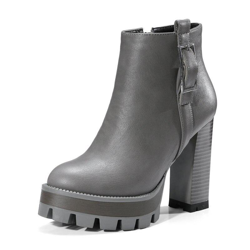 Chaussures Femme Dames Grande 42 2019 Épais Noir Cuir De Femmes Automne marron gris En Vache Plate forme Printemps Taille Bottes Cheville 41 Talons Hauts JclFK1