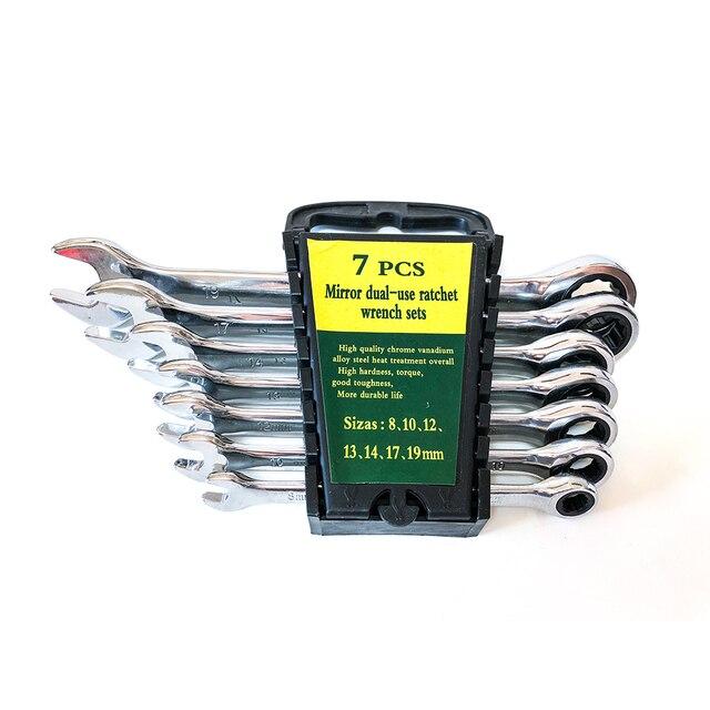 7 sztuk zestaw kluczy grzechotkowych zestaw narzędzi ręcznych do narzędzie do naprawy samochodów zestaw kluczy