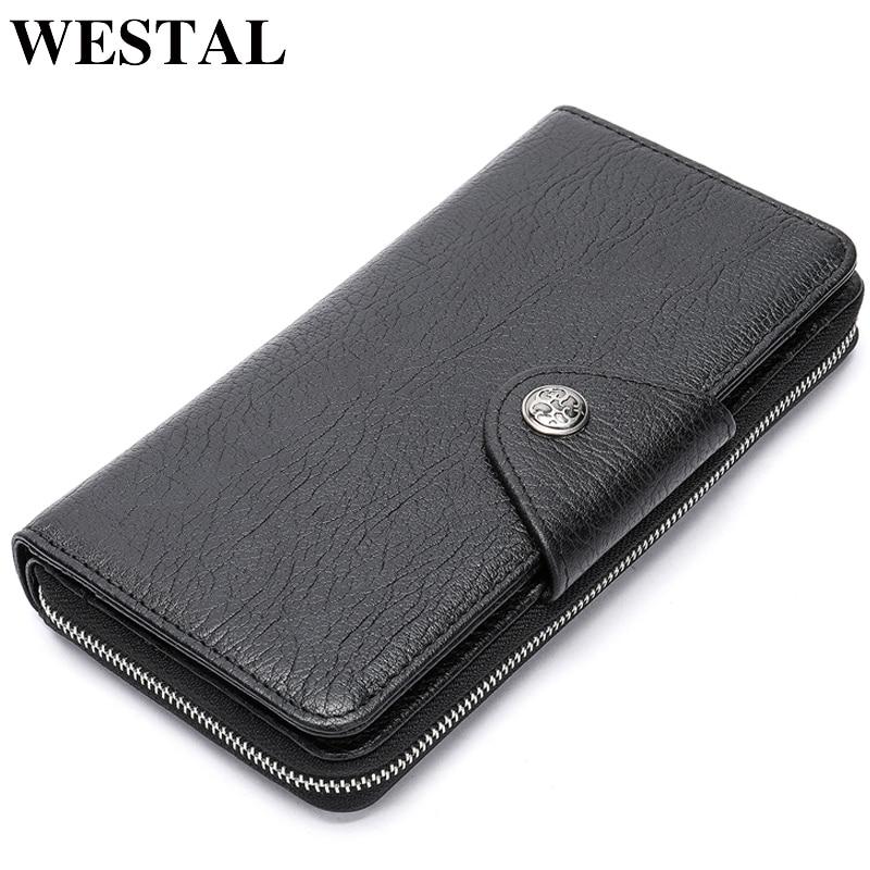 WESTAL Clutch male genuine leather Long Portomonee Coin Purse Men's wallet Zipper Money Bag male Wallet for Card Holder 5500
