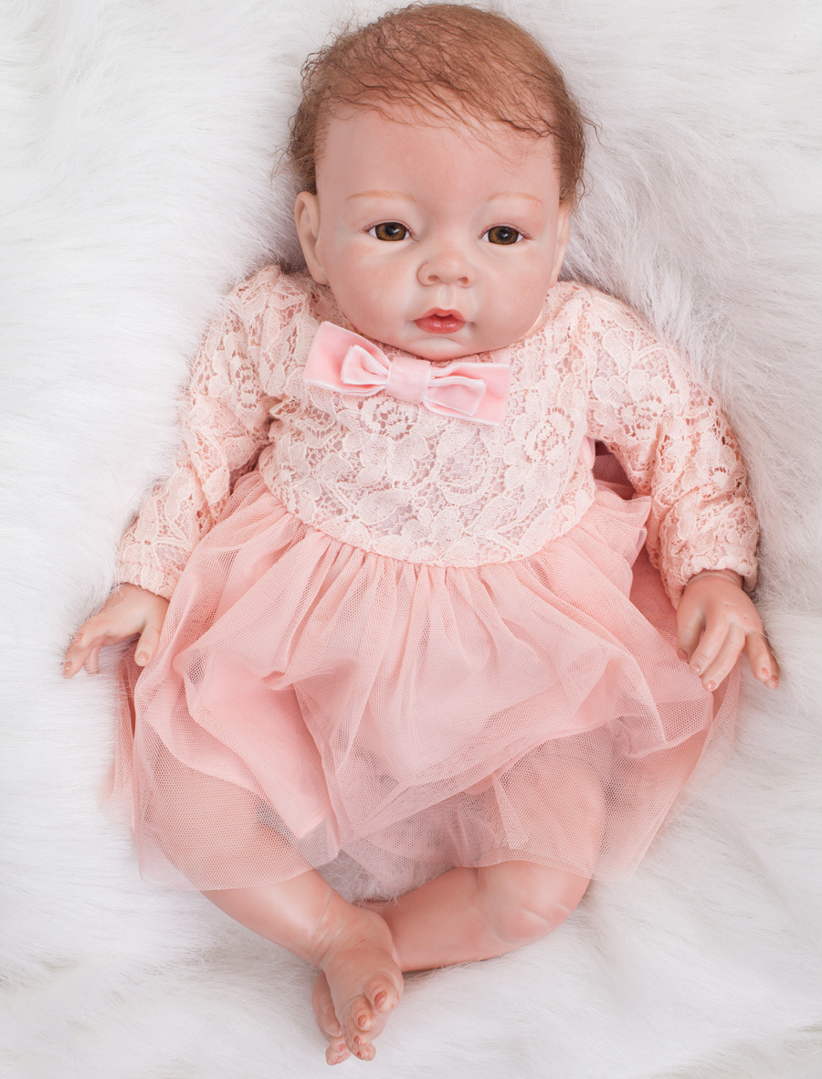 22 inch reborn baby doll toys 55 cm silicone reborn baby dolls Lifelike lovely toy doll fashion Realistic Vinyl girl gifts in Dolls from Toys Hobbies