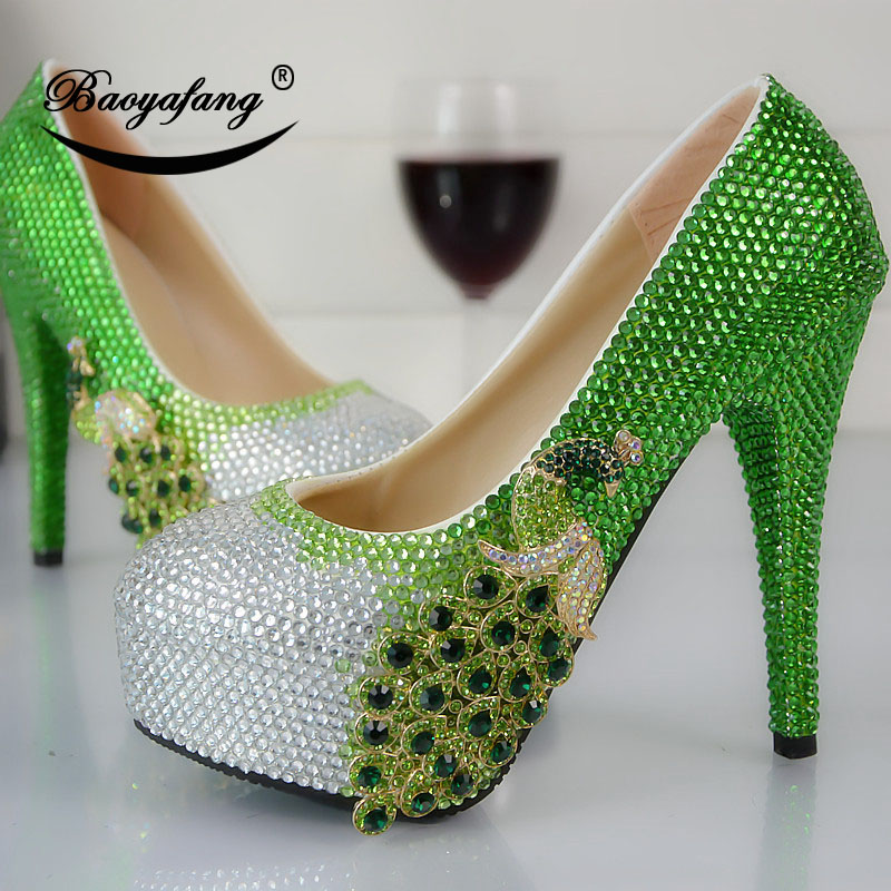 2019 여자의 결혼식 신발 녹색 물 훈련 피닉스 둥근 머리 높은 굽 크리스탈 구두 신부 들러리의 결혼식 신발-에서여성용 펌프부터 신발 의  그룹 2