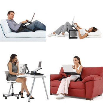 Two Fan Computer Stand Portable Adjustable Foldable Laptop Notebook Lap PC Folding Desk Table Vented Stand Bed Tray