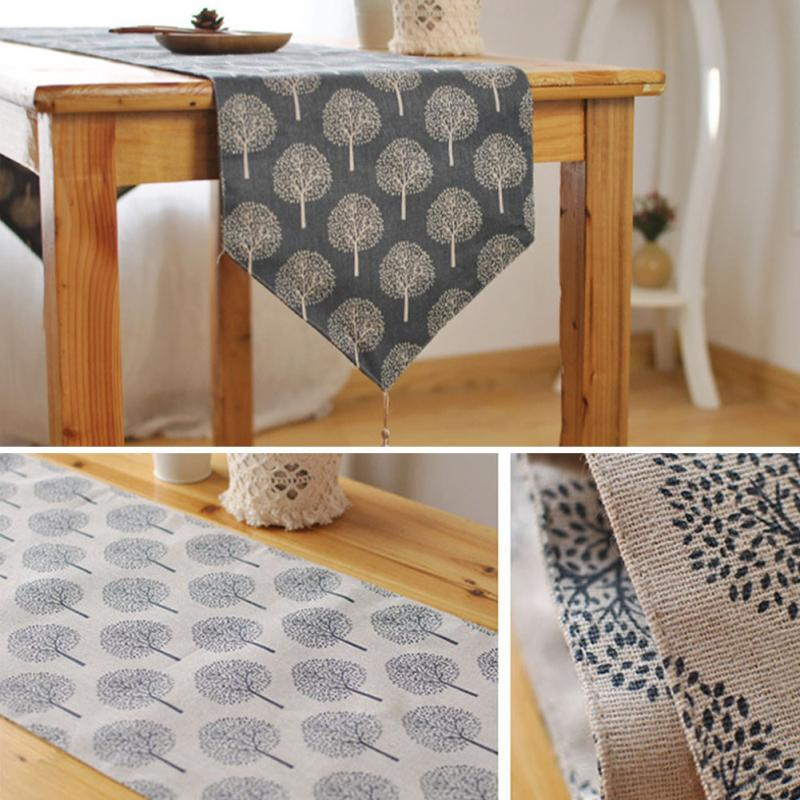 Image 5 - 33cm*160/180/200/220/240cm 5Size Table runner Modern Tree pattern Chirstmas party wedding Decor crafts Linen cotton Table Runner-in Table Runners from Home & Garden