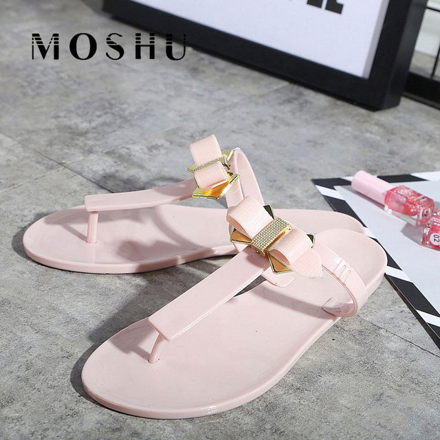 43e458f03e123b Women Flip Flops Butterfly Knot Beach Shoes Summer Slippers Slides Ladies  bow flat Sandals cute jelly Shoes Fringe Casual Shoes