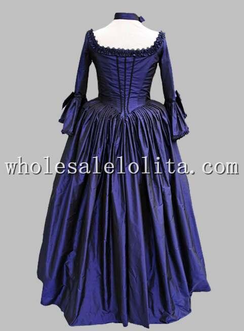 18 век тематический костюм Королевского синего и черного времен Марии Антуанетты платье, сценический костюм