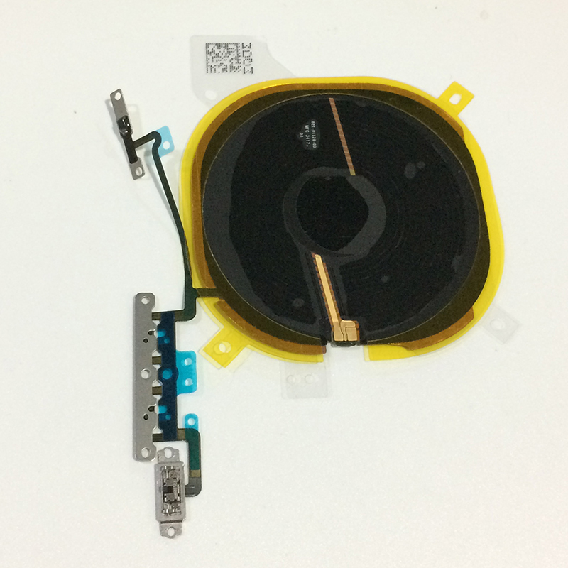 Original Wireless Charging Chip Coil Volume Switch Flex Cable with Metal Bracket Assembly For iPhone X