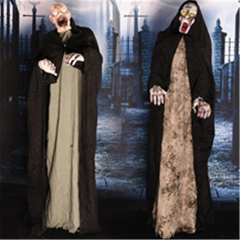 Halloween Standing Horror Ghost Scary Sound Glowing Eyes Halloween Electric Toys Skull Haunted House Frighten Evil Party Props