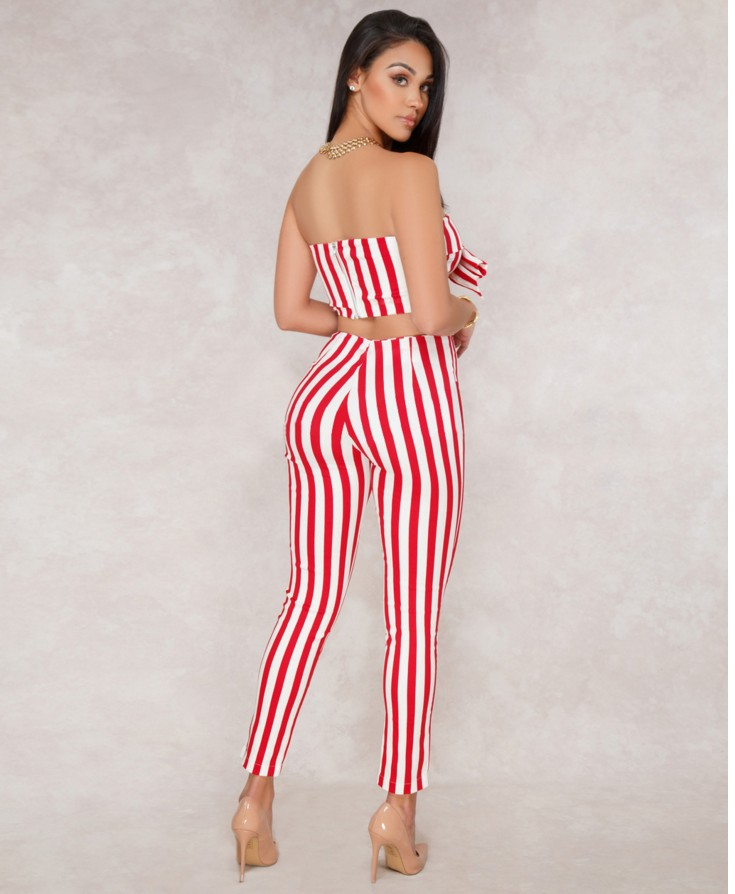 0503802bee8 2019 2018 Women Outfit Sleeveless Striped Bow Crop Top Long Pant ...