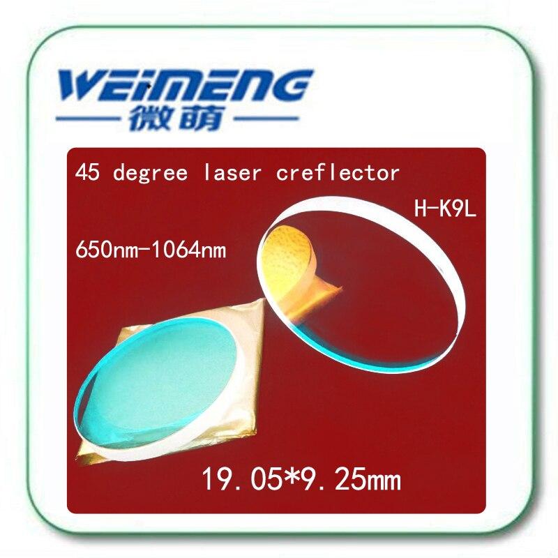 Weimeng 45 grados 19,05*9,25mm H-K9L reflector láser lente espejo óptico 650nm y 1064nm dos puntos reflectantes para máquina de láser