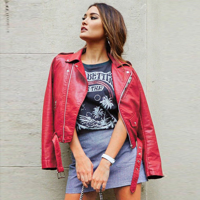 7 Colors Ladies   Leather   Jacket Winter Plus Size   Leather   Coat Women Punk Jacket Pink Red   Leather   Jacket   Leather   Biker Jacket
