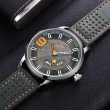 Мини фокус мужские военные кварцевые часы водонепроницаемые армейские спортивные наручные часы Мужские часы с кожаным ремешком 0154G серый