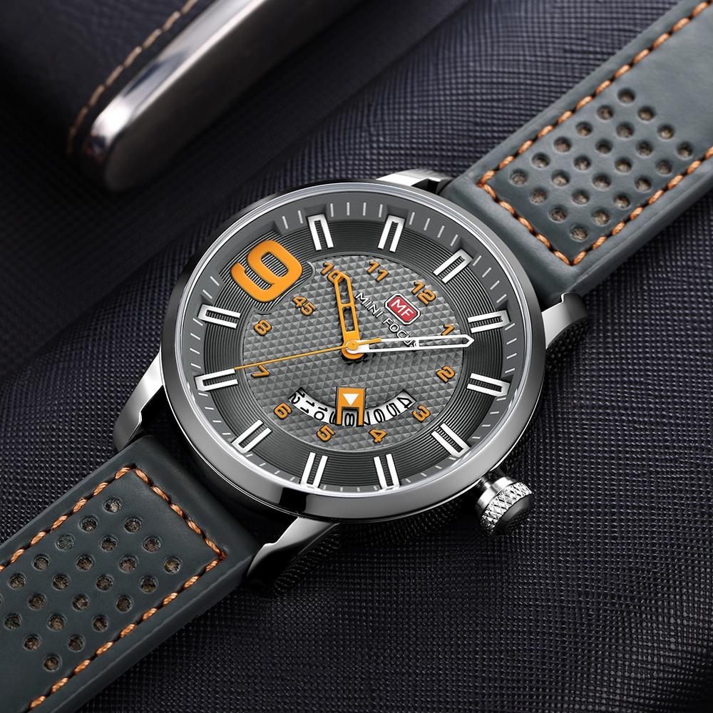 MINI FOCUS Men's Military Quartz Watches Waterproof Army Sport Wristwatch Man Relogios Masculino Clock Leather Strap 0154G gray