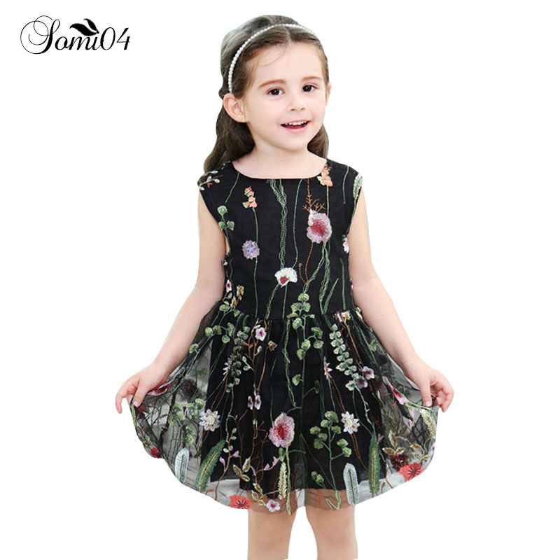 Elegant Girls Embroidery Floral Vest Backless Dress Clothing Fashion Gauze Mesh Kids 1 2 3 4 5 6 7 8 Years Lace Summer Dresses floral slash neck vest page 1
