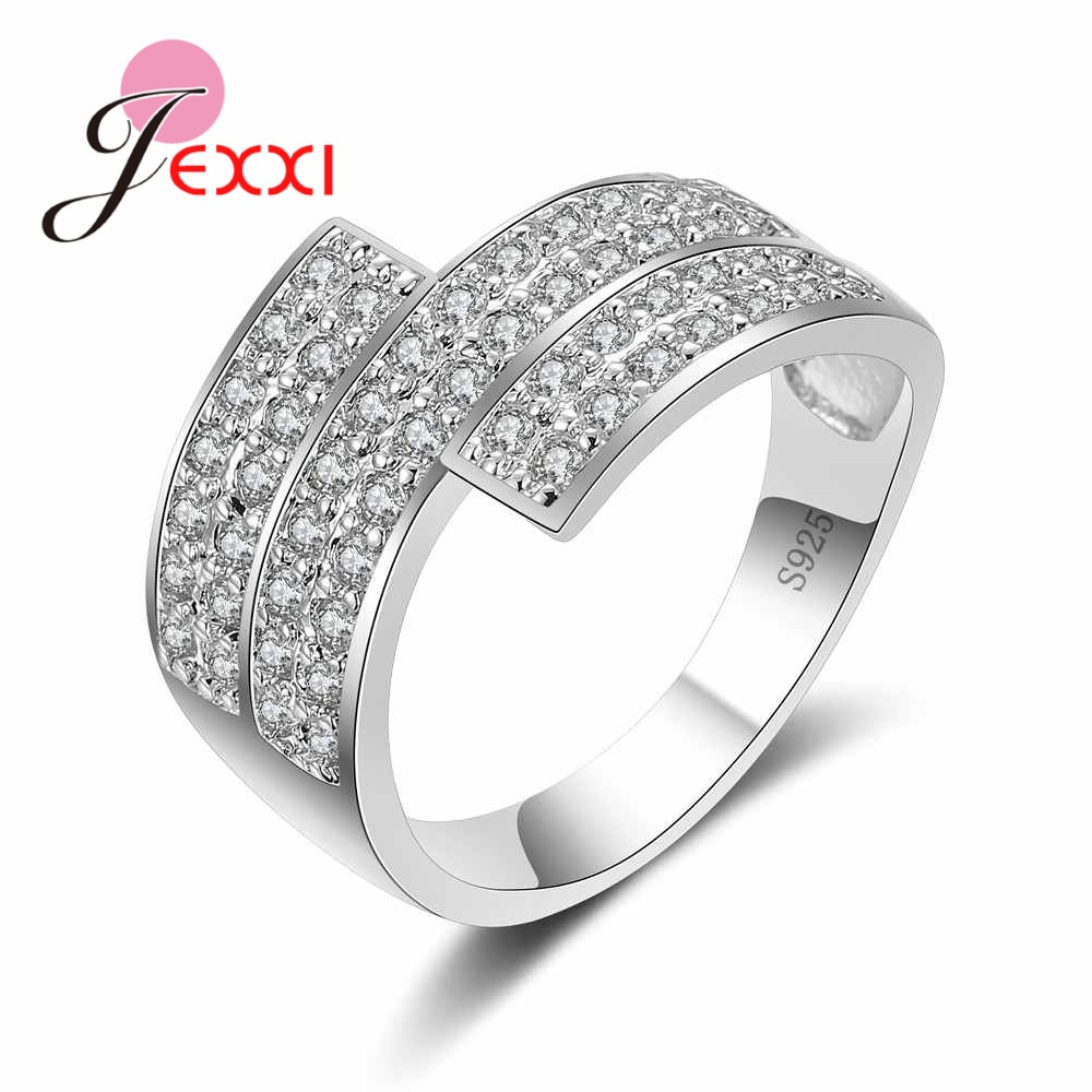 JEXXI Hot Sales Cross 925 Sterling Silver Wedding Rings Bague For Women Clear Full-zirconia Crystal Finger Rings Bijoux Party