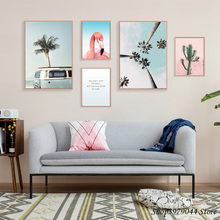 Flamingo Posters And Prints Cactus Art Print Seascape Poster Nordic Plakat Coconut Tree Wall Pictures For Living Room Unframed